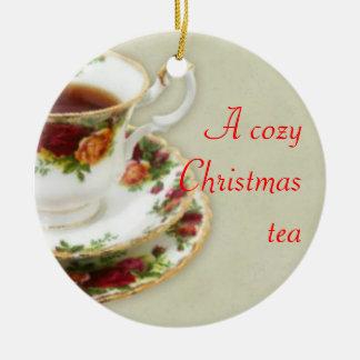 A Cozy Christmas Tea Ceramic Ornament