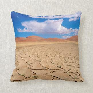 A cracked desert plain throw pillow