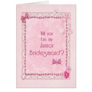 A craft look Junior Bridesmaid invitation Greeting Card