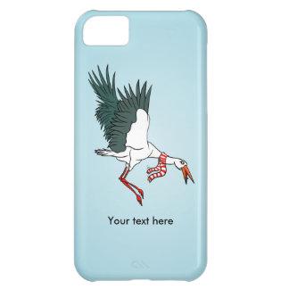 A Crane Wearing A Striped Winter Scarf iPhone 5C Case