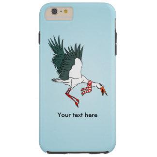 A Crane Wearing A Striped Winter Scarf Tough iPhone 6 Plus Case