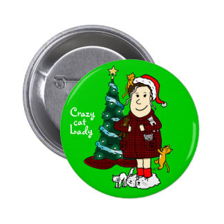 'A Crazy Cat Lady Christmas' 2 Inch Round Button