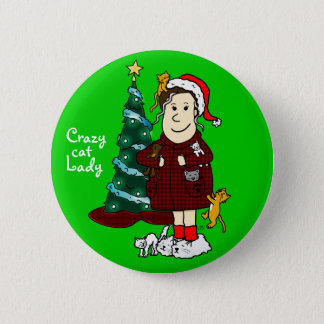 'A Crazy Cat Lady Christmas' Pinback Button