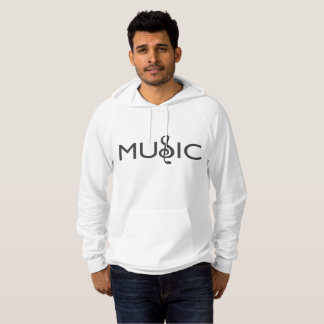 A creatively designed treble clef within the word hoodie