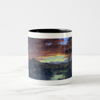 A creek in the woods by Asher Brown Durand Two-Tone Coffee Mug