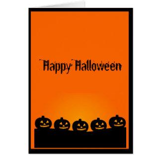 A Creepy Row of Halloween Pumpkins Card