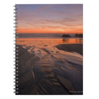 A crescent moon sets through a dusk-colored sky notebook