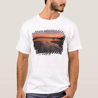 A crescent moon sets through a dusk-colored sky T-Shirt