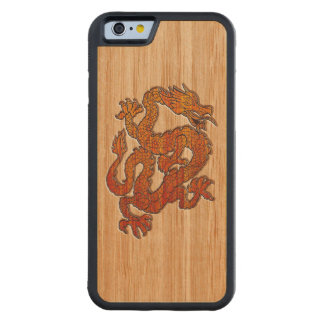 A Crimson Dragon on Bamboo like Carved Maple iPhone 6 Bumper Case