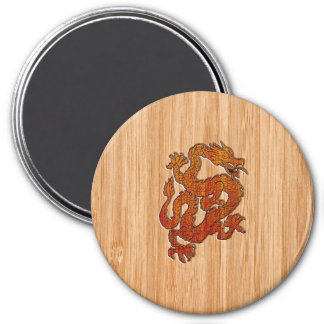 A Crimson Dragon on Bamboo like Magnet