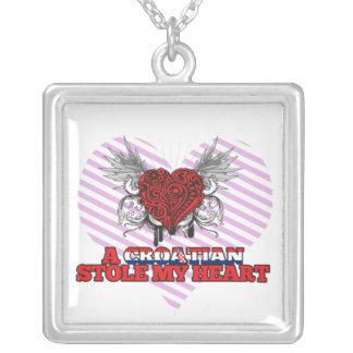A Croatian Stole my Heart Square Pendant Necklace