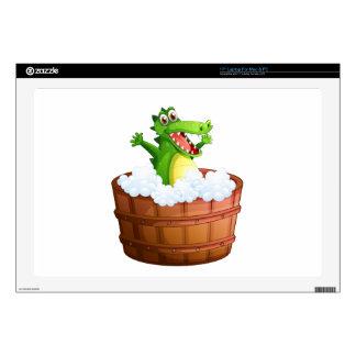 A crocodile taking a bath skin for laptop