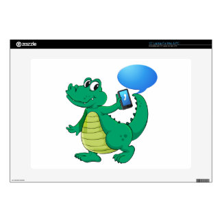 a crocodile with cell phone skins for laptops