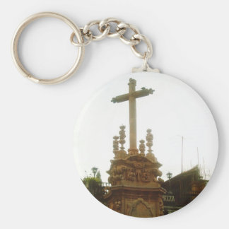 A cross beside the Taxco Cathedral Basic Round Button Keychain