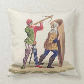 A Cross-bowman and his Paviser, 1433, from 'Ancien Throw Pillows