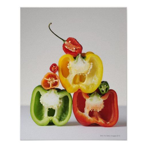 A cross-section of peppers print