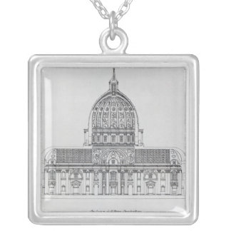 A cross-section of St. Peter's, Rome Square Pendant Necklace