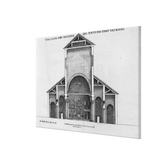 A Cross-Section of the old Vatican church Canvas Print