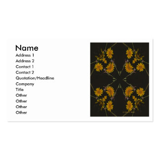 A cross shaped repeated group of yellow flowers Double-Sided standard business cards (Pack of 100)
