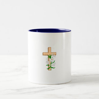 A Cross Standing Behind A White Flower Two-Tone Coffee Mug