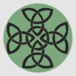 A cross with four triquetras - choose background classic round sticker
