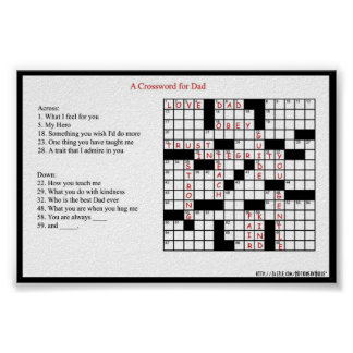 A Crossword for Dad Poster Print