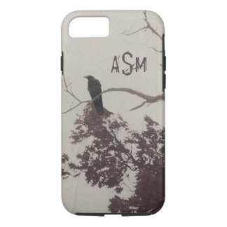 A Crow on a Branch in a Tree with Burgundy Leaves iPhone 7 Case