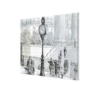 A Crowd Admires a Pneumatic Clock Gallery Wrap Canvas