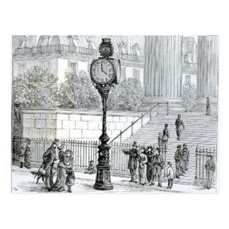 A Crowd Admires a Pneumatic Clock Postcard