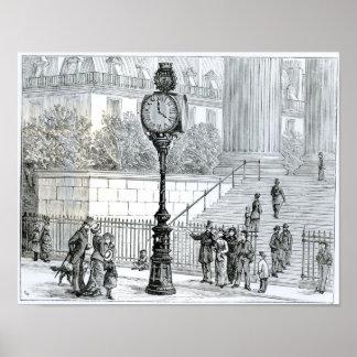 A Crowd Admires a Pneumatic Clock Poster