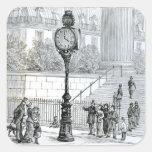 A Crowd Admires a Pneumatic Clock Square Sticker