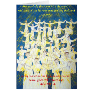 A crowd of angels praising God and blessing men Card