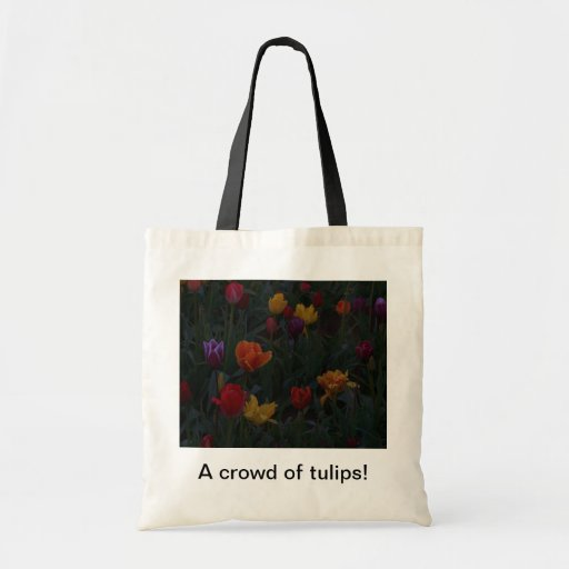 A crowd of tulips budget tote bag
