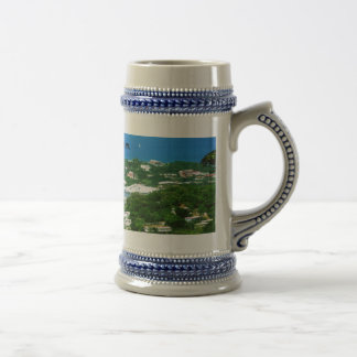 A Cruise Ship docked at St. Lucia Beer Stein