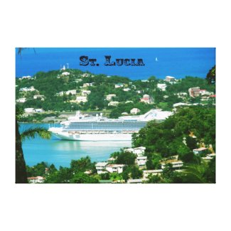 A Cruise Ship docked at St. Lucia Canvas Print