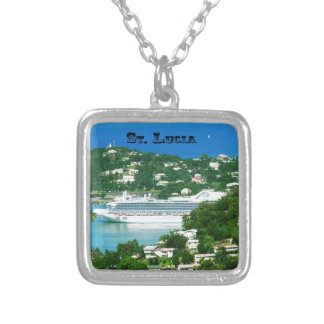 A Cruise Ship docked at St. Lucia Silver Plated Necklace