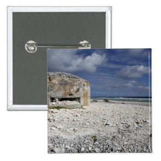 A crumbling bunker pinback button
