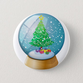 A crystal ball with a Christmas tree Pinback Button
