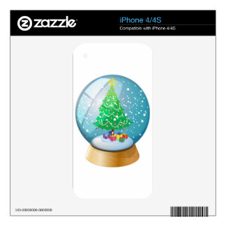 A crystal ball with a Christmas tree Skin For The iPhone 4
