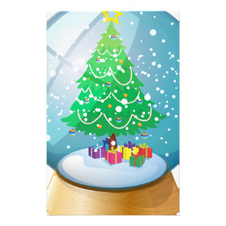 A crystal ball with a Christmas tree Stationery