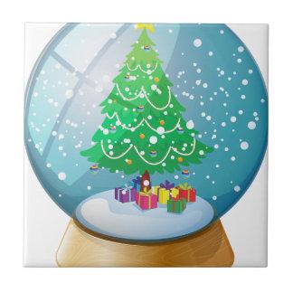 A crystal ball with a Christmas tree Tile