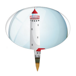 A crystal ball with a lighthouse inside.pdf cake toppers