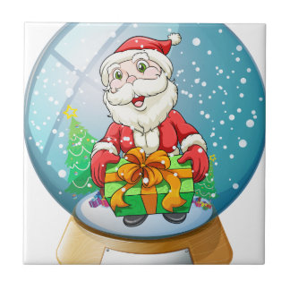 A crystal ball with Santa Claus inside Tile