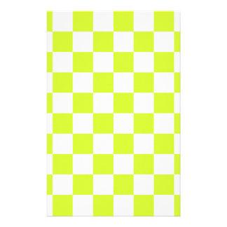 A cuadros - amarillo blanco y fluorescente papelería personalizada