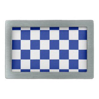 A cuadros - azul blanco e imperial hebilla cinturon rectangular