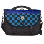 A cuadros azul personalizado del doctor conocido bolsas para ordenador