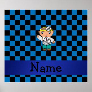 A cuadros azul personalizado del doctor conocido impresiones