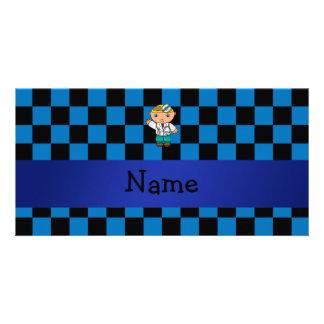 A cuadros azul personalizado del doctor conocido tarjetas fotograficas personalizadas
