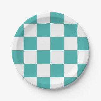 A cuadros azulverde/blanco del verdete plato de papel 17,78 cm