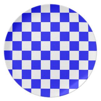 A cuadros - blanco y azul plato